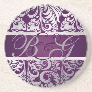 PixDezines Bellissimo Damask, Monogram Wedding Sandstone Coaster