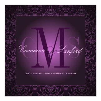 PixDezines bijoux damask /plum 13 Cm X 13 Cm Square Invitation Card