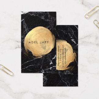 PixDezines BLACK MARBLE+FAUX GOLD SPOTS Business Card