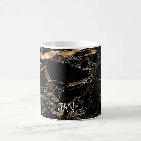 PixDezines BLACK MARBLE FAUX GOLD VEINS Coffee Mug