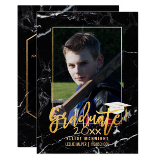 PixDezines Black Marble Graduation/Faux Gold Card