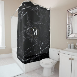 PixDezines BLACK MARBLE+MONOGRAM (removable) Shower Curtain