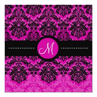 "PixDezines black Piqué Damask/DIY Pink velvet 5.25"" Square Invitation Card"