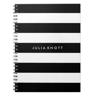 PixDezines black+white stripes/adjustable/DIY colo Spiral Note Book