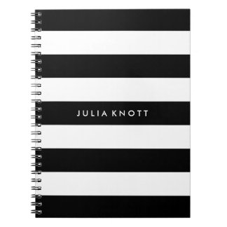 PixDezines black+white stripes/adjustable/DIY colo Spiral Notebook