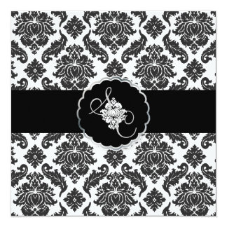 PixDezines Black+White Venezia Damask 13 Cm X 13 Cm Square Invitation Card