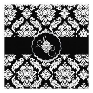 PixDezines Black+White Venezia Damask Personalized Invite