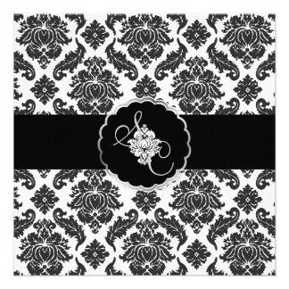 PixDezines Black+White Venezia Damask Personalized Announcements
