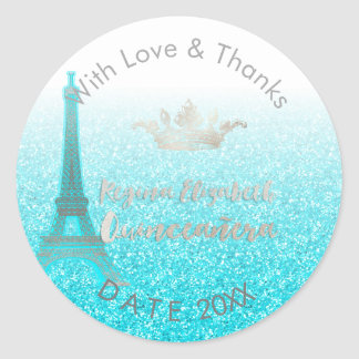 PixDezines Blue Eiffel/Sweet 15/DIY Thank You Classic Round Sticker