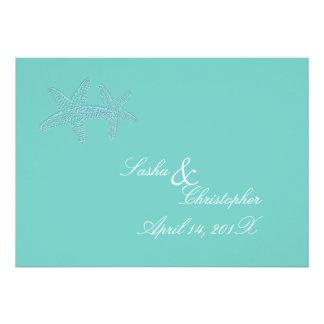 PixDezines Blue Starfish Wedding Invitations