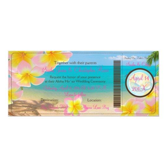 PixDezines Boarding Pass Pink Plumerias+beach Card