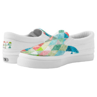 PixDezines Boho Watercolor Geometric/Triangles Slip On Shoes