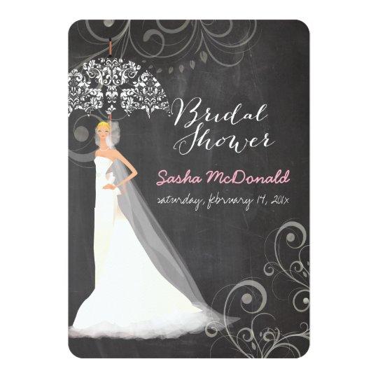 PixDezines bridal shower/chalkboard/umbrella Card