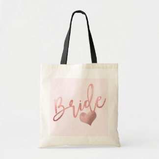 PixDezines Bride/Faux Rose Gold Script Tote Bag
