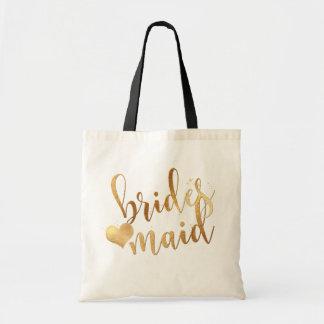 PixDezines Bridesmaid/Faux Gold Handwritten Script Tote Bag