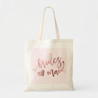 PixDezines Bridesmaid/Faux Rose Gold Script Tote Bag