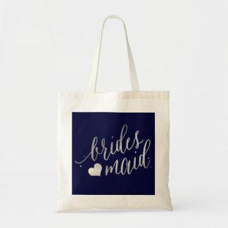 PixDezines Bridesmaid/Faux Silver Script Tote Bag