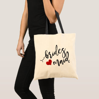 PixDezines Bridesmaid/Heart/Modern Script Tote Bag
