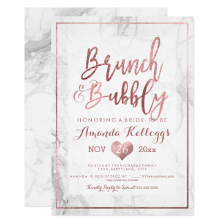 PixDezines Brunch Bubbly/Faux Rose Gold Marble Card