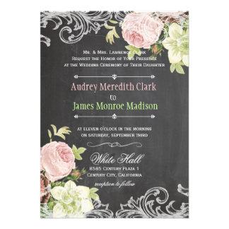 PixDezines chalkboard rococo vintage roses Personalized Invitations