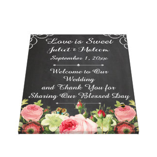 PixDezines chalkboard/Roses/DIY Wedding Reception Gallery Wrapped Canvas