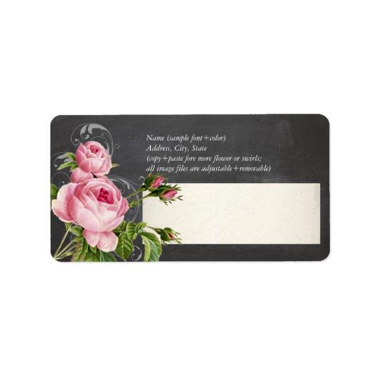PixDezines chalkboard+vintage roses Address Label