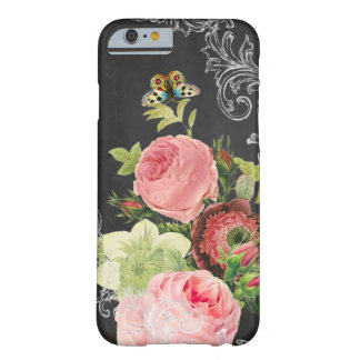 PixDezines chalkboard/vintage roses Barely There iPhone 6 Case