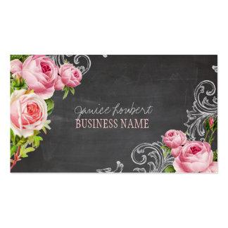 PixDezines chalkboard+vintage roses Business Cards