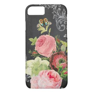 PixDezines chalkboard/vintage roses iPhone 7 Case