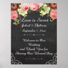 PixDezines  chalkboard/vintage roses/reception Poster