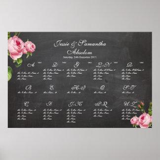 PixDezines chalkboard+vintage roses/seating chart Print