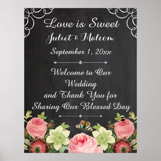 PixDezines chalkboard/vintage roses/wedding Poster