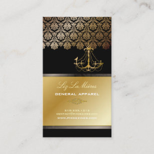 Gold chandelier business cards business card printing zazzle uk pixdezines chandelier damask black gold lace business card reheart Gallery
