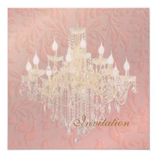 PixDezines Chandelier Pink Champagne Baroque Damas 13 Cm X 13 Cm Square Invitation Card