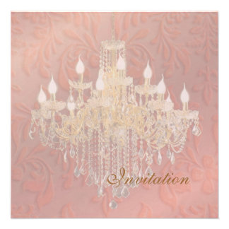 PixDezines Chandelier Pink Champagne Baroque Damas Personalized Announcements