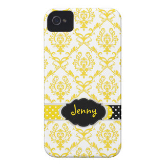 PixDezines Chantal Damask/DIY color, black+yellow iPhone 4 Covers