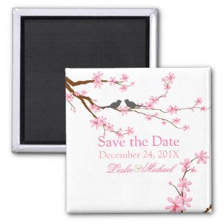 PixDezines Cherry Blossom+love birds Magnet
