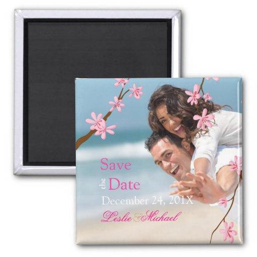 PixDezines Cherry Blossom, save the date photo Fridge Magnet