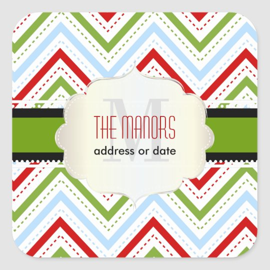 PixDezines Chevron/Christmas/DIY colours Square Sticker