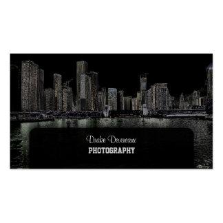 PixDezines City Scape Lakeshore Chicago black Business Cards