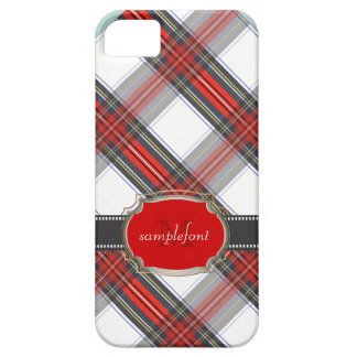 PixDezines clan stewart tartan/red+grey iPhone 5 Case
