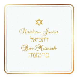 PixDezines Classic Bar Mitzvah/gold 13 Cm X 13 Cm Square Invitation Card