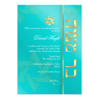PixDezines Classy Bar Mitzvah aqua blue Personalized Announcements