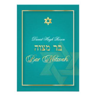 PixDezines Classy Bar Mitzvah DIY background color Personalized Announcements