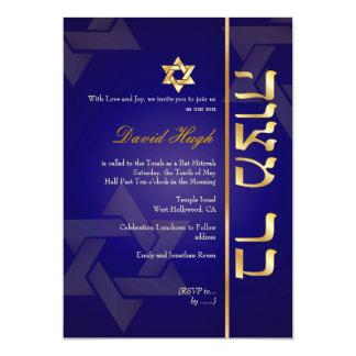 PixDezines Classy Photo Bar Mitzvah/dark blue/gold 13 Cm X 18 Cm Invitation Card