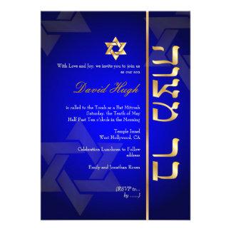 PixDezines Classy Photo Bar Mitzvah royal blue Personalized Invitation