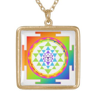 PixDezines Colorful Sri Yantra Gold Plated Necklace