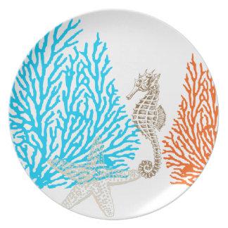 PixDezines coral+seahorse/DIY background color! Plate