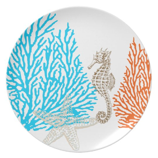 PixDezines coral+seahorse/DIY background colour! Plate