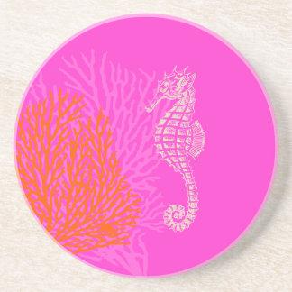 PixDezines Coral+Seahorse/natural+hot pink Coaster